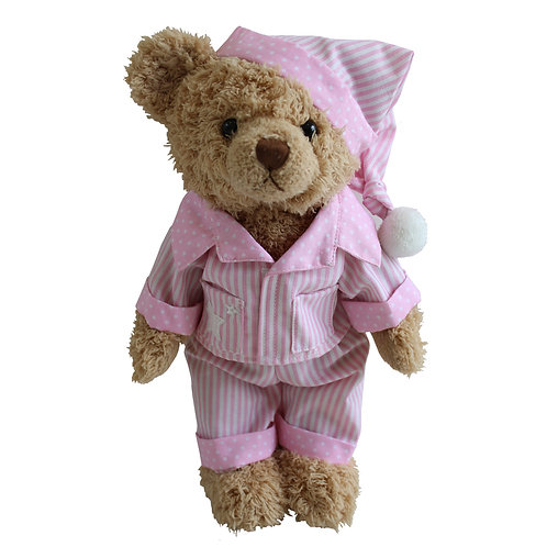Teddy Bear With Pink Stripe Pyjamas And Nightcap