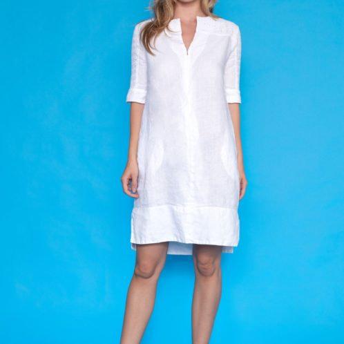 Haris Cotton White Linen Dress