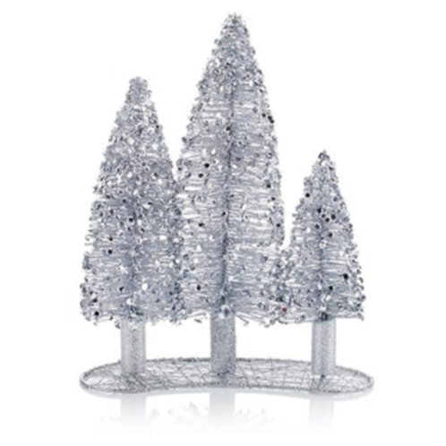 Silver Beaded Triple Tree Decoration