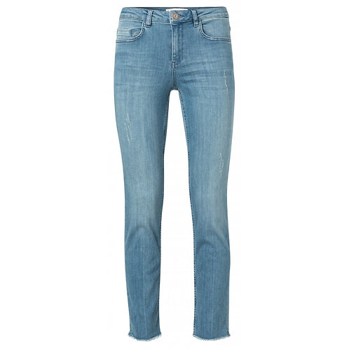 Yaya Cotton blend straight jeans with frayed hems