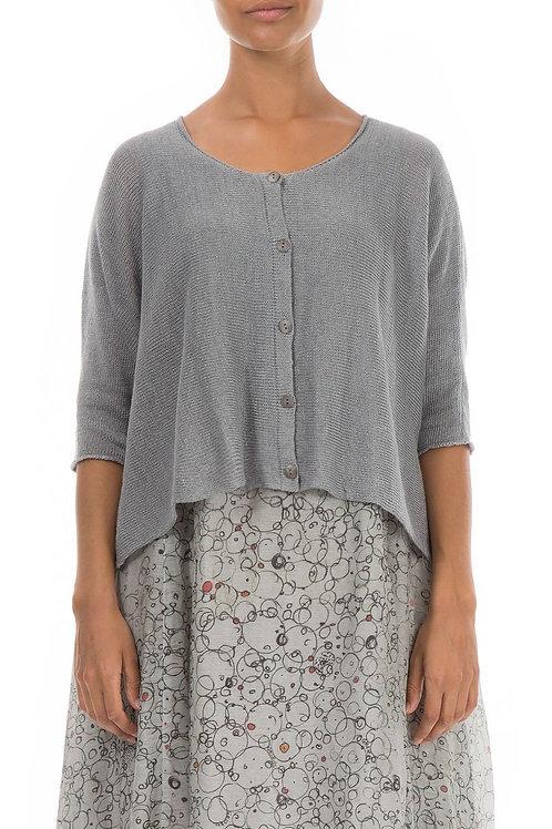 Loose Grey Linen Cardigan