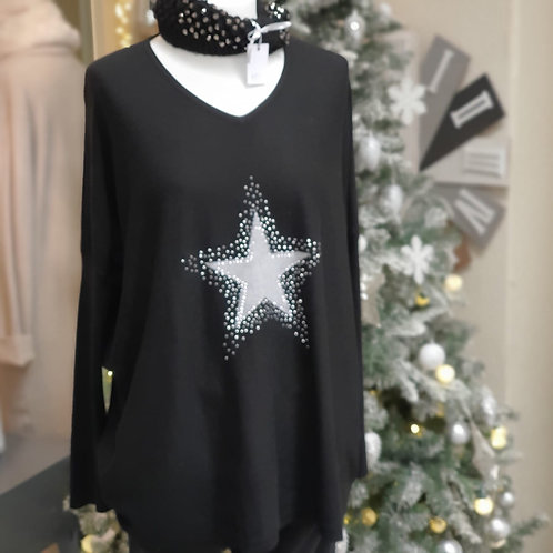 Black Sparkle Star Top
