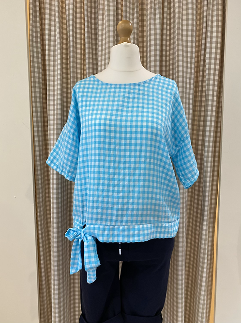Blue and White Check Tie Top