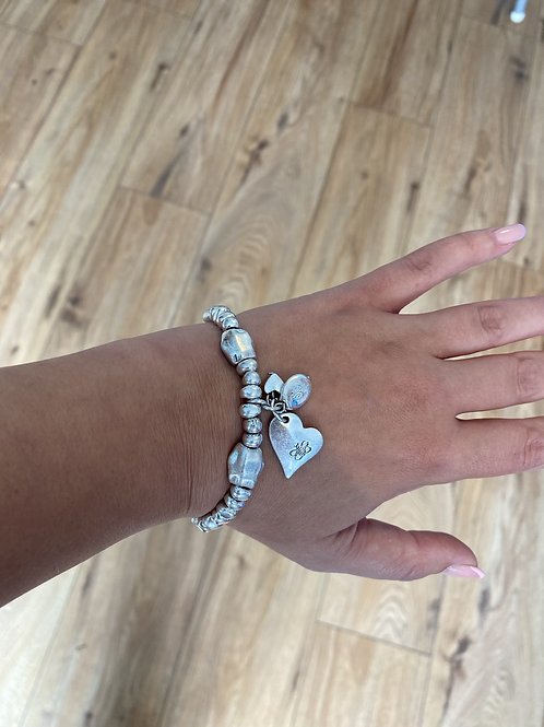 Silver Heart and Bee Bracelet