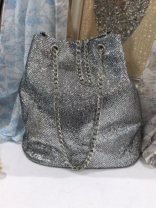 Silver Bucket Bag