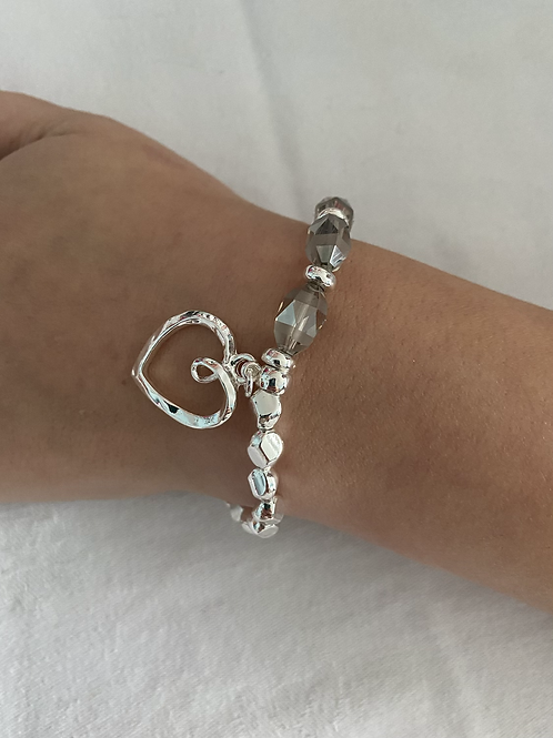 Grey and Silver Heart Bracelet