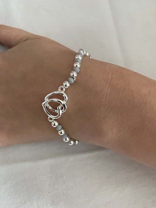 Grey and Silver Double Heart Bracelet