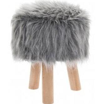 Grey Faux Fur Shaggy Stool