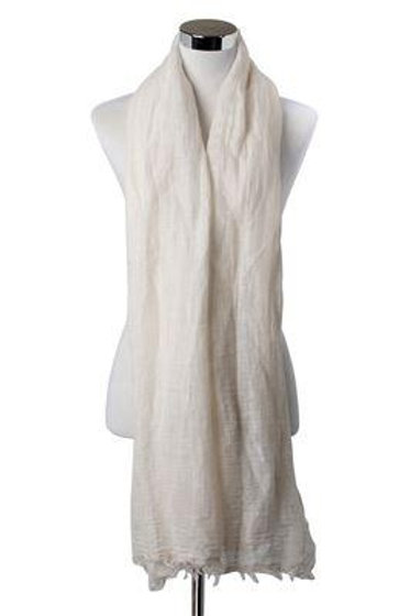Casual Cream Frayed Linen Scarf