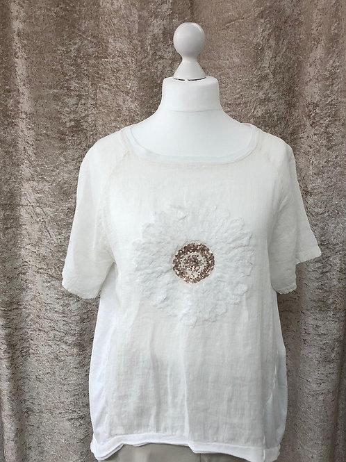 White Flower Design Linen Top