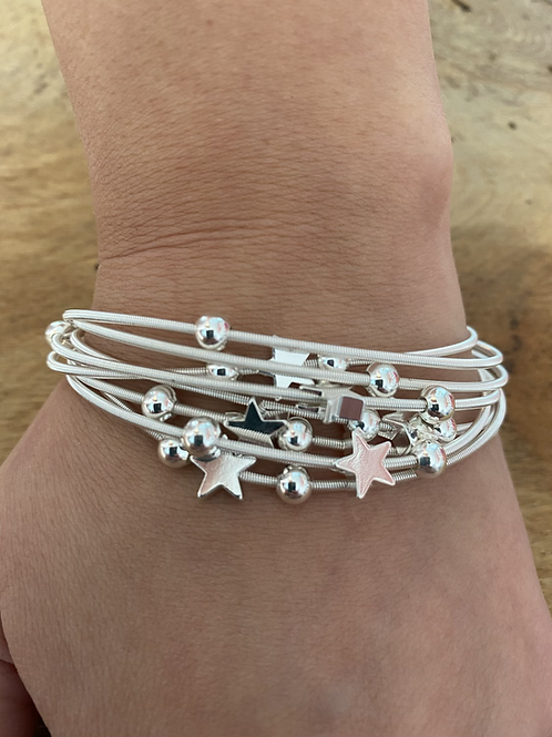 Multi Strand Silver and Rose Gold Star Bracelet