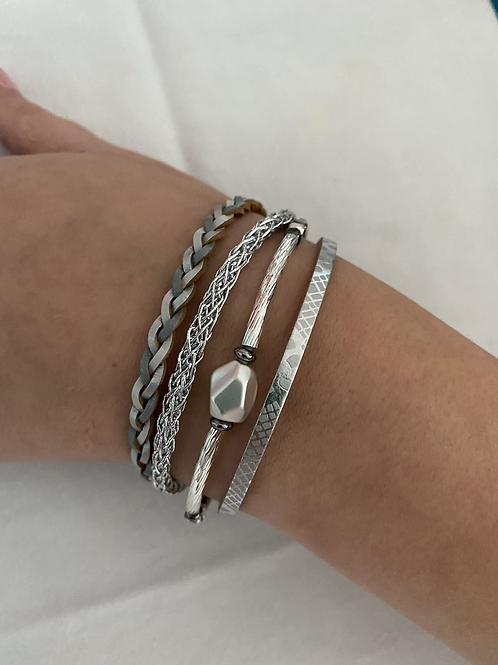 Grey and Silver Multi Strap Bracelet