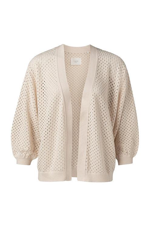 Yaya Open Stitching Cardigan in Sheer Pink