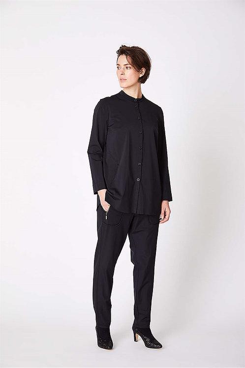Qneel Black Collarless Shirt
