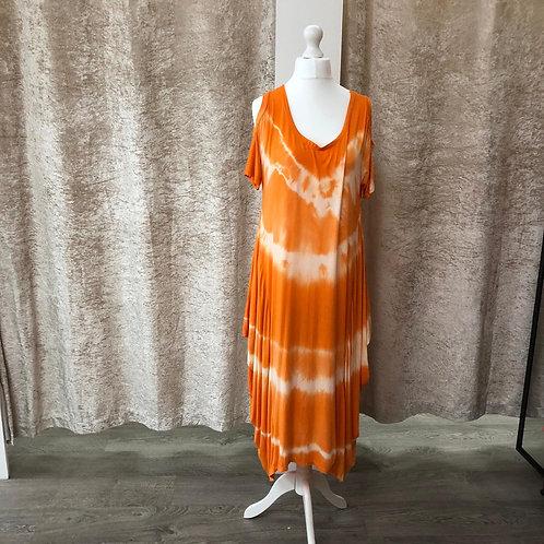Orange Tie Dye Cold Shoulder Dress