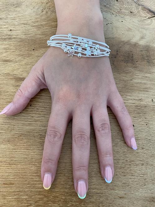 Multi Strand Silver  Star Bracelet