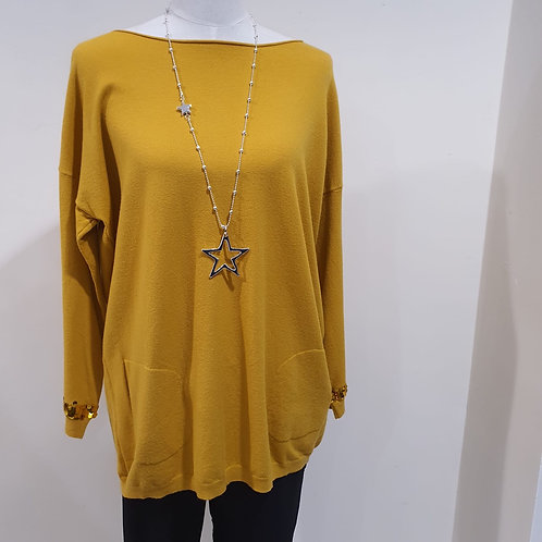 Mustard Jumper with Sequin Back