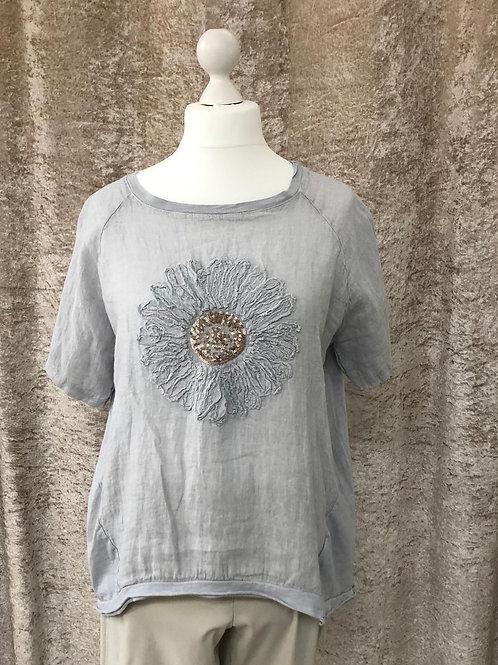 Light Grey Flower Design Linen Top