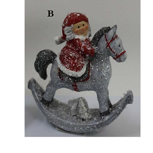 Santa on Rocking Horse Ornament
