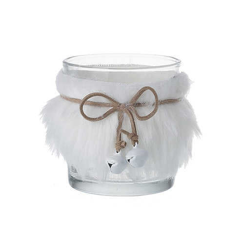 Tealight Holder with Fur Trim and Bells
