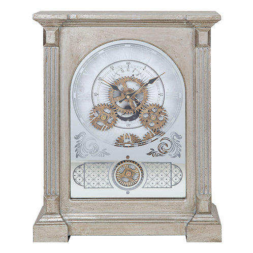 Square Mantel Clock with Moving Cogs