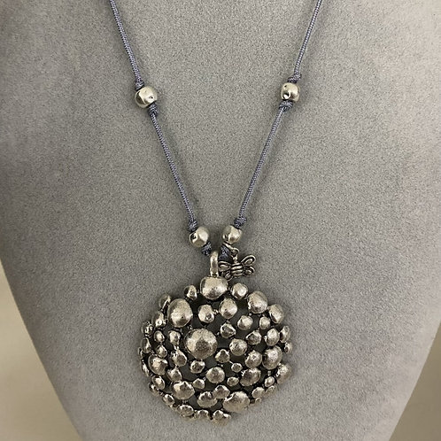 Silver and Grey Circle Necklace