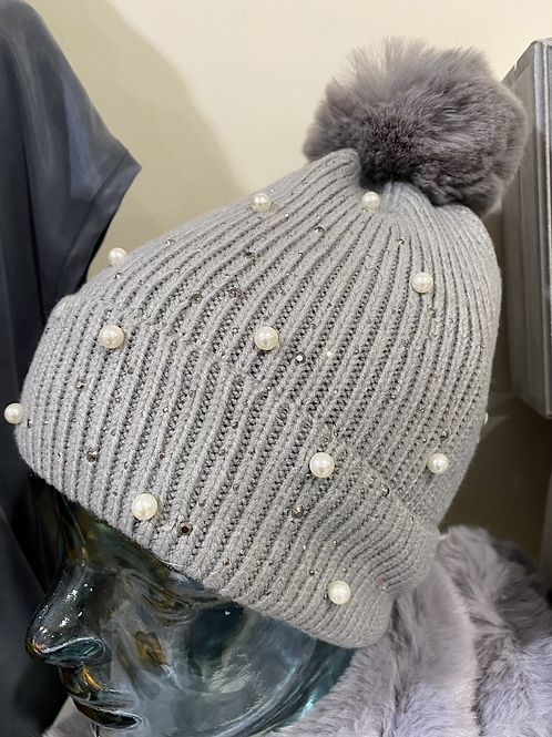 Pearl and Diamante Knitted Hat