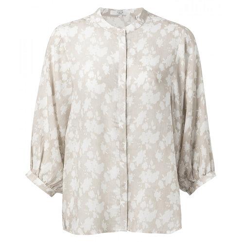 Yaya Beige Shirt with 3/4 Puff Sleeves