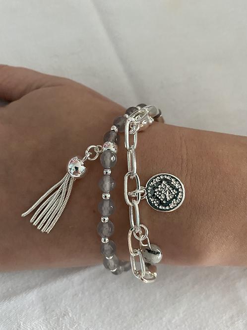 Silver and Grey Charm Bracelet
