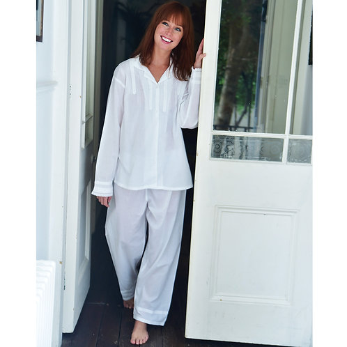 Ladies White Cotton Pyjamas