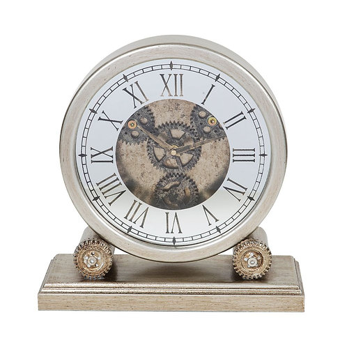 Round Mantel Clock with Moving Cogs