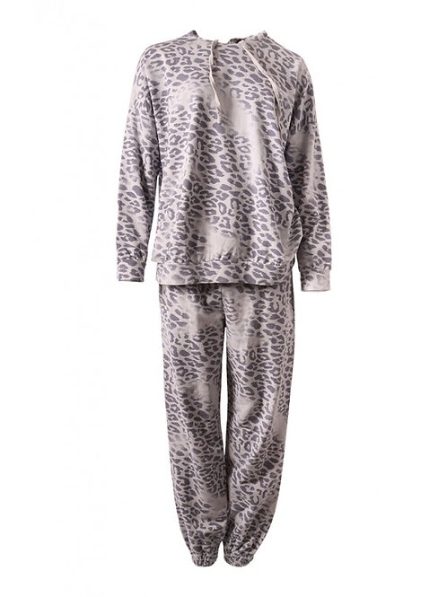 Light Grey Leopard Print Lounge Suit