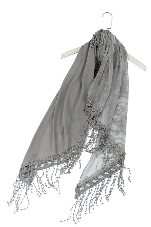 Grey Butterfly Lace Tassel Scarf