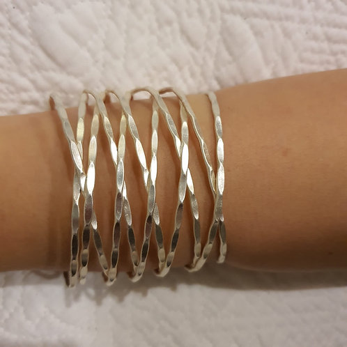 Silver Hammered Metal Cuff Bracelet