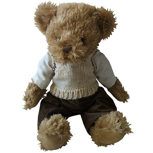 Teddy With Brown Cord Trousers And Tank Top