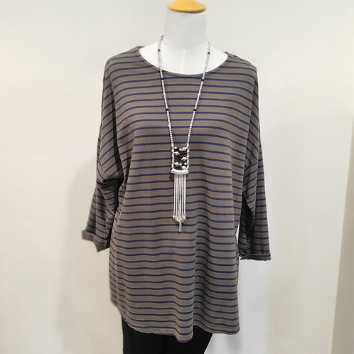Brown & Navy Stripe Top