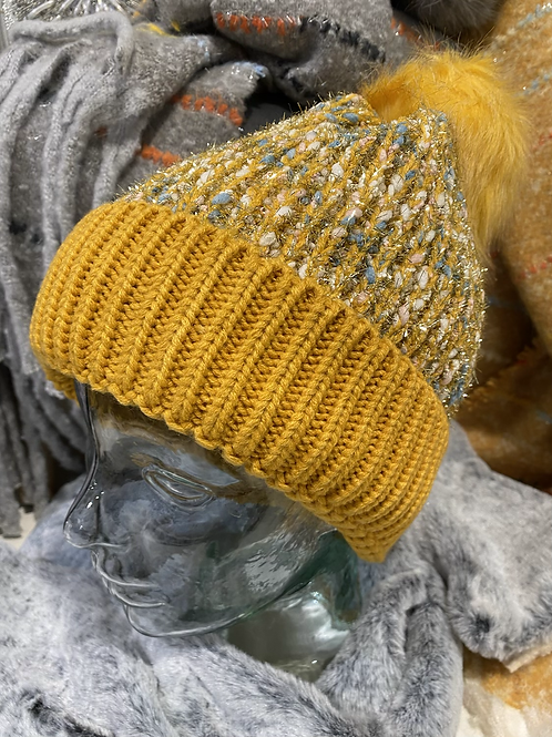Mustard Knitted Sparkle Hat