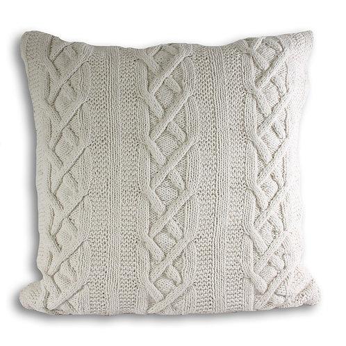 Cream Aran Knitted Cushion
