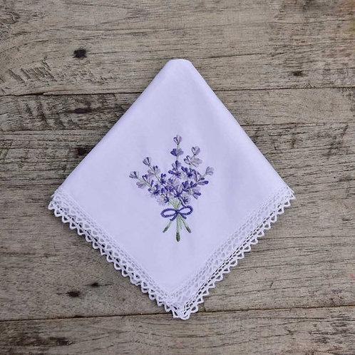 White Cotton Lavender Embroidered Hankie