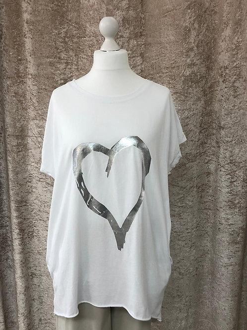 White Slouch Heart Tshirt