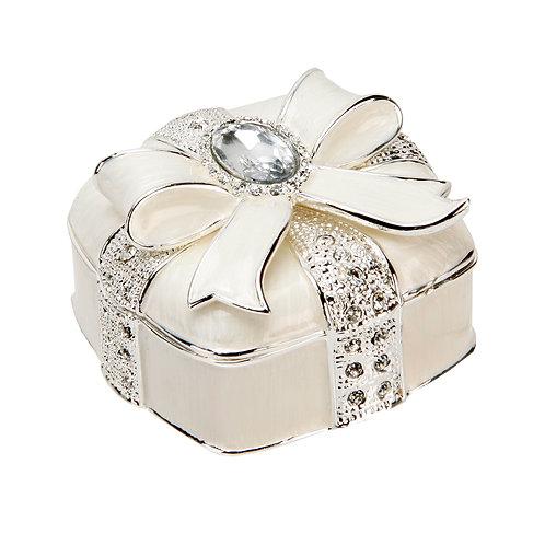 Bow & Crystal Silverplated Trinket Box