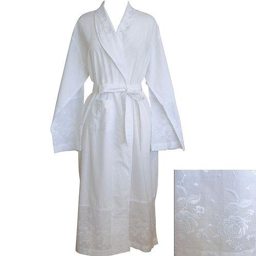 Ladies White Cotton Dressing Gown
