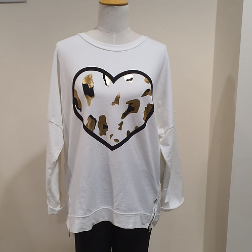 Cream Top with Gold Heart
