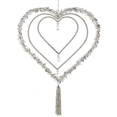 Silver Beaded Triple Heart Hanger