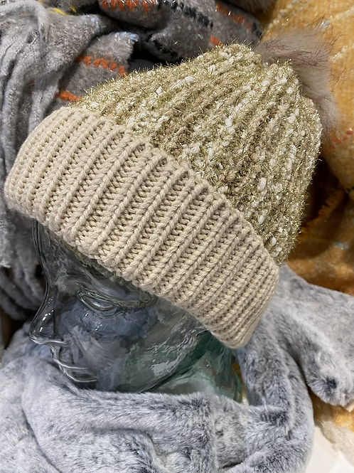 Gold Knitted Sparkle Hat