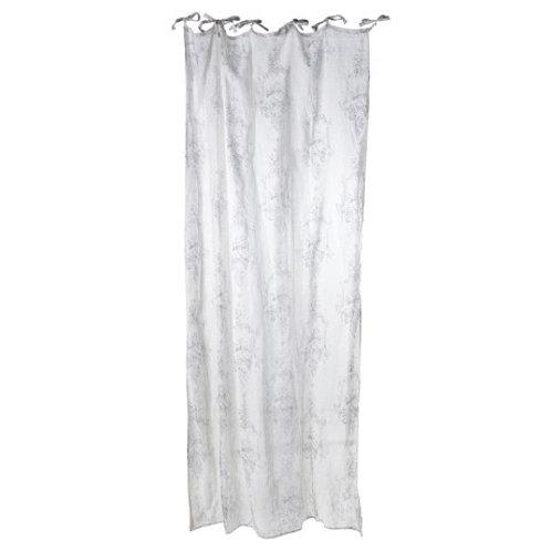 Flower Design Linen Curtain