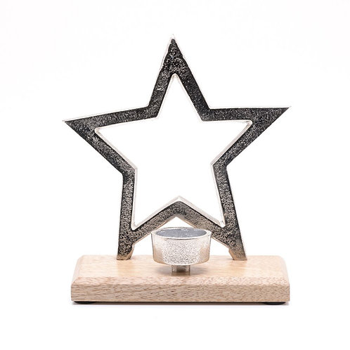 Metal Star and Wood Tealight Holder