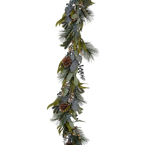 Gold Berry, Pinecone and Mixed Green Garland