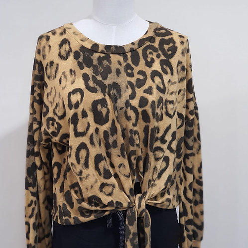 Animal Print Front Tie Top