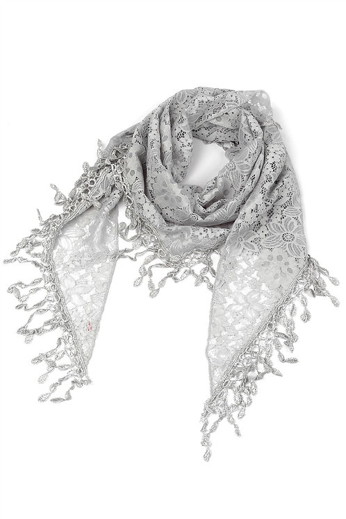 Grey Triangle Floral Lace Scarf